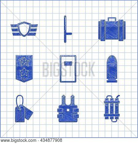 Set Police Assault Shield, Bulletproof Vest For Protection From Bullets, Detonate Dynamite Bomb Stic