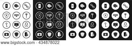 Set Chain Link, Password Protection And Safety Access, Shield With Keyhole, Smartphone Fingerprint S