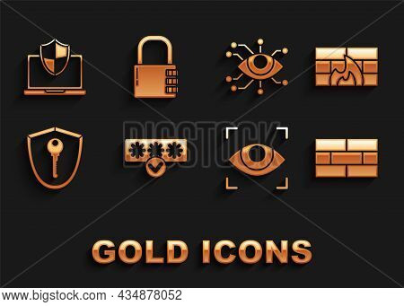 Set Password Protection And Safety Access, Firewall, Security Wall, Bricks, Eye Scan, Shield With Ke