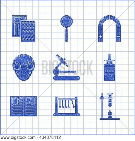 Set Microscope, Pendulum, Glass Test Tube Flask On Fire Heater, Bottle With Pipette, Open Book, Extr