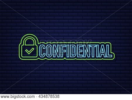 Confidential Green Neon Sign, Isolated On Dark Background. Flat Icon. Vector Illustration.