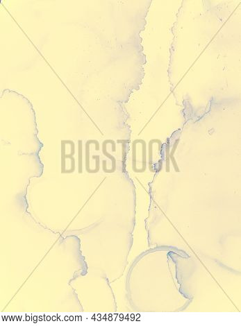 Wedding Card Design. Yellow Pastel Fluid Splash. Watercolor Color Background. Abstract Alcohol Ink S