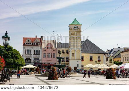 Karvina, Czech Republic - September 13, 2020: Cityscape Of Masarykovo Namesti Town Square In Karvina