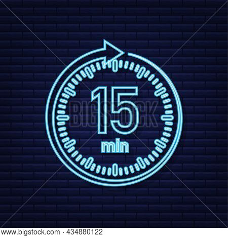 The 15 Minutes, Stopwatch Vector Neon Icon. Stopwatch Icon In Flat Style, Timer On On Color Backgrou