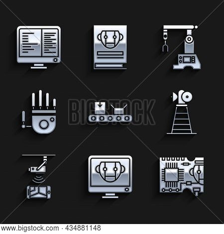 Set Conveyor Belt With Cardboard Box, Bot, Printed Circuit Pcb, Antenna, Wireless Controlling Cctv S