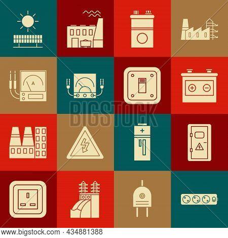 Set Electric Extension Cord, Electrical Cabinet, Car Battery, Ampere Meter, Multimeter, Voltmeter, S
