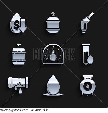 Set Motor Gas Gauge, Oil Drop, And Industrial Factory Building, Petrol Test Tube, Broken Metal Pipe