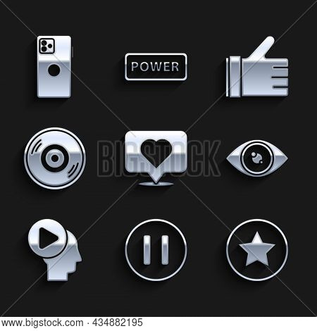 Set Like And Heart, Pause Button, Star, Eye, Head People With Play, Vinyl Disk, Hand Like And Smartp