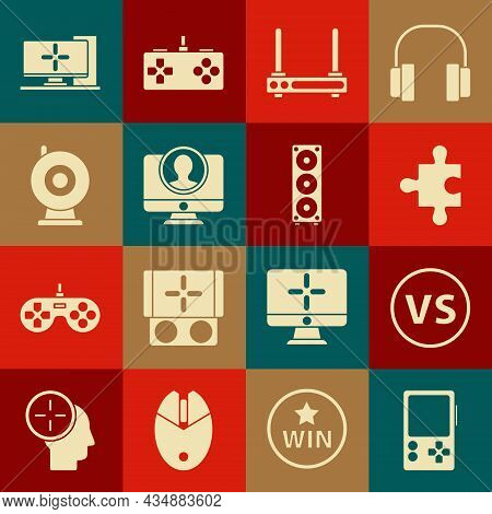 Set Portable Video Game Console, Vs Versus Battle, Piece Of Puzzle, Router And Wi-fi Signal, Create