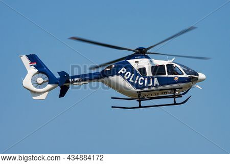Varazdin, Croatia - July 12, 2015: Government Police Helicopter At Airport And Airfield. Rotorcraft.