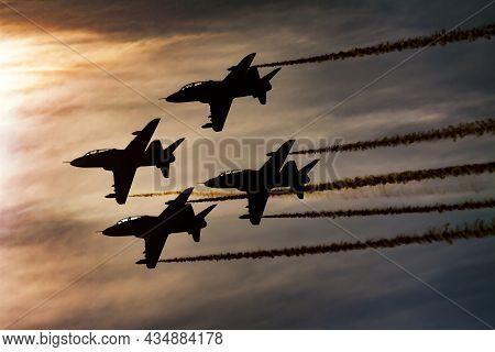 Radom, Poland - August 25, 2013: Military Trainer Plane At Air Base. Air Force Flight Operation. Avi