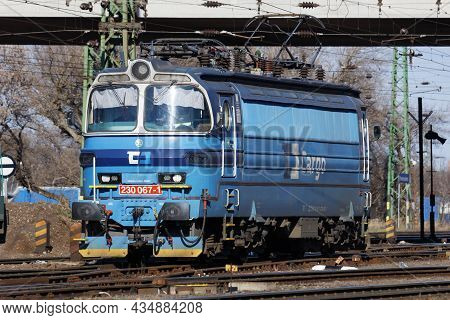 Budapest, Hungary - March 6, 2021: International Train Transportation. Locomotive Train At Station.