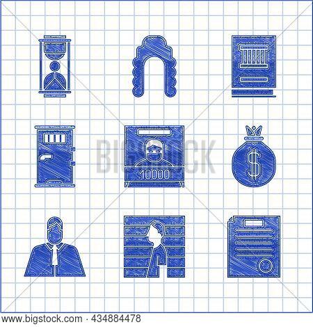 Set Wanted Poster, Suspect Criminal, The Arrest Warrant, Money Bag, Lawyer, Attorney, Jurist, Prison