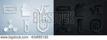 Set Test Tube And Flask, Square Root Of X Glyph, Molecule, Shield Protecting From Virus, Astronomica