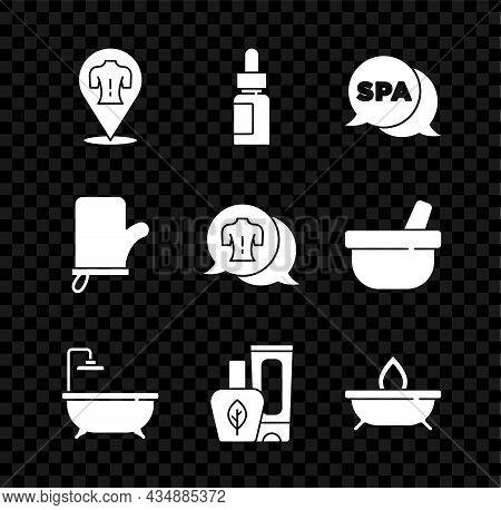 Set Massage, Essential Oil Bottle, Spa Salon, Bathtub, Ointment Cream Tube, Aroma Candle, Sauna Mitt