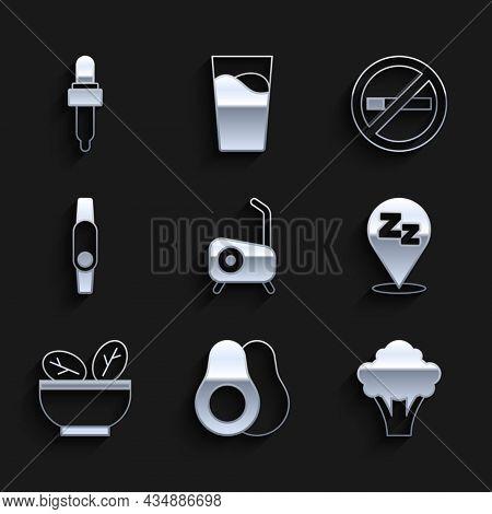 Set Stationary Bicycle, Avocado Fruit, Broccoli, Sleepy, Salad In Bowl, Smartwatch, No Smoking And P