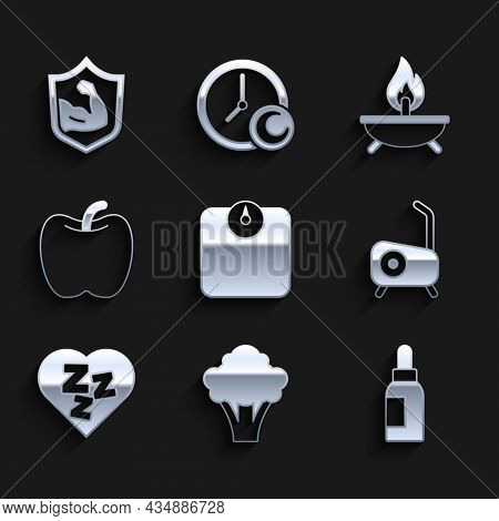 Set Bathroom Scales, Broccoli, Essential Oil Bottle, Stationary Bicycle, Sleepy, Apple, Aroma Candle