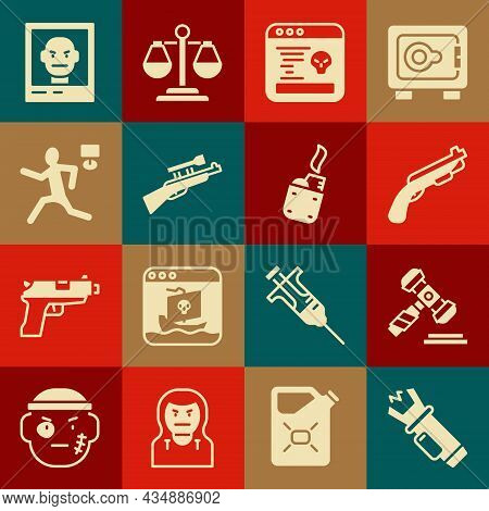 Set Police Electric Shocker, Judge Gavel, Shotgun, System Bug, Sniper Rifle With Scope, Murder, Want
