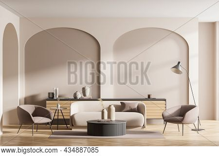 Beige Living Room Interior With Wall Arches, Small Sofa With Two Armchairs, Floor Lamp, Parquet, Cof