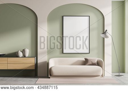Empty Frame In Beige And Green Living Room Interior With Sofa And Sideboard In Two Wall Arches, Lamp