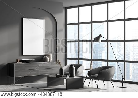 Corner Of Grey Living Room Interior With Canvas In Wall Arch, Panoramic Window, Two Armchairs, Coffe