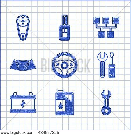 Set Steering Wheel, Canister For Motor Oil, Wrench Spanner, Screwdriver And Wrench, Car Battery, Bro