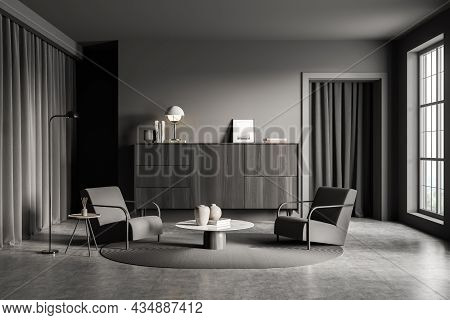 Modern Dark Grey Living Room Interior Design With Two Armchairs, Round Coffee Table, Slim Lamp, Curt