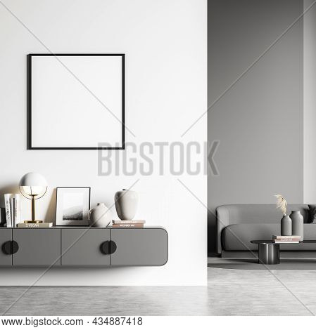 Living Room Interior With White And Grey Design, Having A Wall Partitoin, A Sideboard, A Concrete Fl