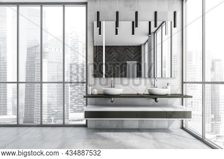 Light Grey Panoramic Bathroom Interior With A Shelf Vanity And A Floating Countertop, Two Wash Basin