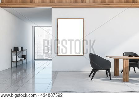 Empty Canvas On The White Wall Of The Dining Room Interior With Wood Materials, Dark Grey Chairs, A
