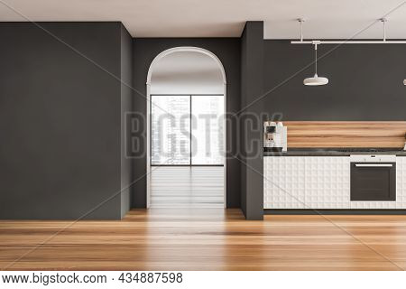 Archway And A Stylish Grey And White Kitchen Space With The Next Panoramic Interior On The Backgroun