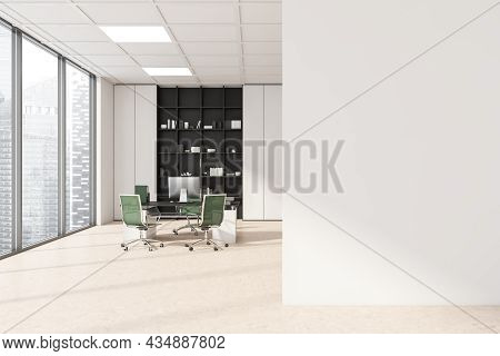 White Wall Of The Stylish Workspace Interior With Green Office Chairs, Panoramic Windows And A Shelv