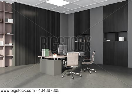Corner Of Grey And Beige Office Interior With Rolling Chairs, Office Wardrobe With Shelving And Mana