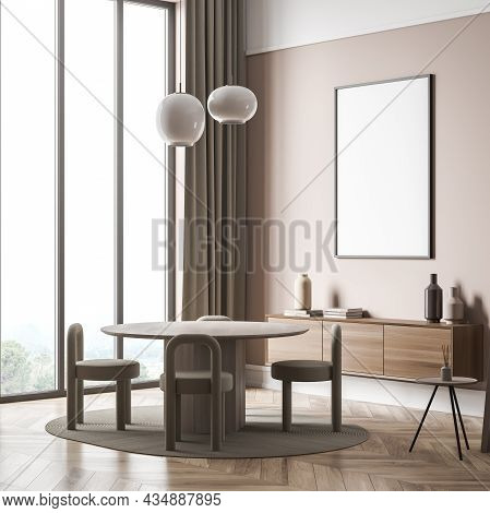 Canvas On Wall Of Light Beige Panoramic Living Space Interior With Round Table, Four Little Chairs,