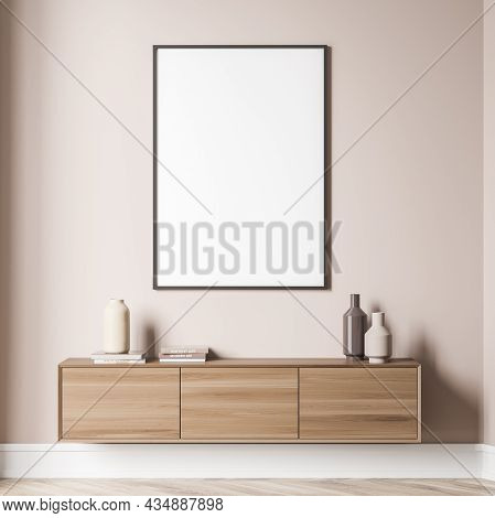 Light Beige Living Room Interior With Empty White Canvas On Wall And On Trend Wood Sideboard Beneath