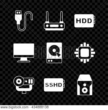 Set Usb Cable Cord, Router And Wi-fi Signal, Hard Disk Drive Hdd, Web Camera, Sshd Card, Uninterrupt