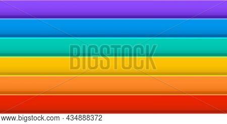 Rainbow Vector Seamless Pattern, Colorful Stripe, Horizontal Geometric Background, Multicolor Gradie