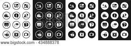 Set World News, Information, Tv News Car, Breaking, Crime, Speech Bubble Chat And Live Report Icon.