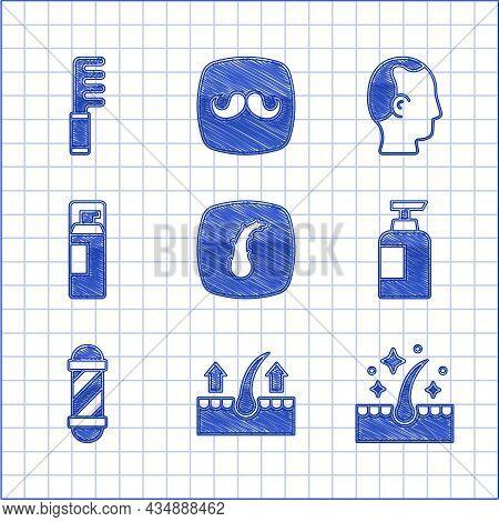 Set Human Hair Follicle, Oil For Care Treatment, Bottle Of Shampoo, Classic Barber Shop Pole, Shavin
