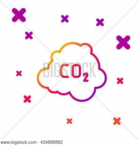 Color Line Co2 Emissions In Cloud Icon Isolated On White Background. Carbon Dioxide Formula, Smog Po