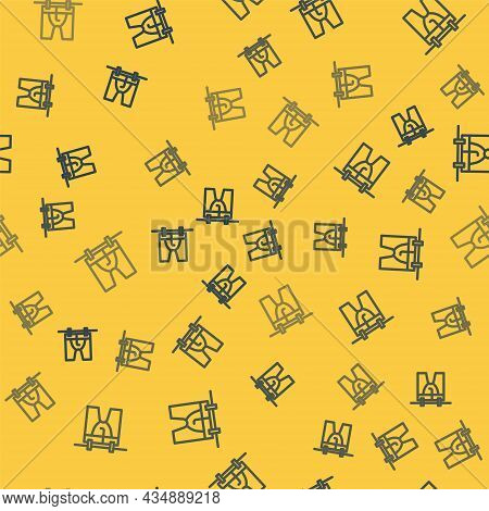 Blue Line Drying Clothes Icon Isolated Seamless Pattern On Yellow Background. Clean Shirt. Wash Clot