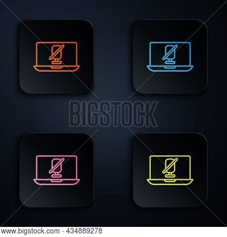 Color Neon Line Mute Microphone On Laptop Icon Isolated On Black Background. Microphone Audio Muted.