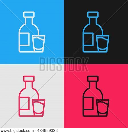 Pop Art Line Bottle Of Vodka With Glass Icon Isolated On Color Background. Vector