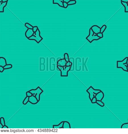 Blue Line Hands In Praying Position Icon Isolated Seamless Pattern On Green Background. Praying Hand