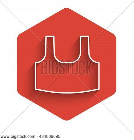 White Line Undershirt Icon Isolated With Long Shadow Background. Red Hexagon Button. Vector