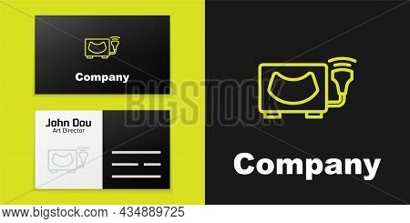 Logotype Line Ultrasound Icon Isolated On Black Background. Medical Equipment. Logo Design Template