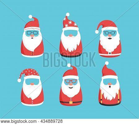 Christmas Santa Claus Vector Character Set, Vintage Noel Icon, Cute Snowman Emoticons On Blue Backgr