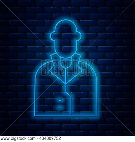 Glowing Neon Line Realtor Icon Isolated On Brick Wall Background. Buying House. Vector