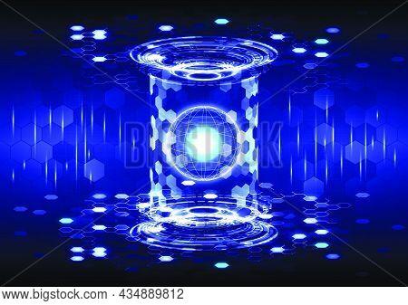 Portal And Hologram Science Futuristic Technology. Sci-fi Digital Hi-tech In Glowing Hud Projector.