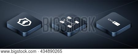 Set Isometric Car With Shield, Screwdriver And Chassis Car Icon. Vector